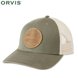 CASQUETTE ORVIS CASCADIA LEATHER PATCH TRUCKER OLIVE
