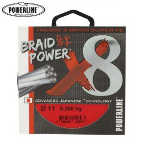 TRESSE POWERLINE BRAIDPOWER 8 BRINS ROUGE 300M