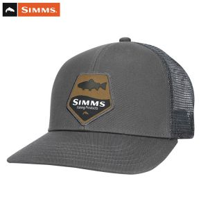 CASQUETTE SIMMS TROUT PATCH TRUCKER CARBON