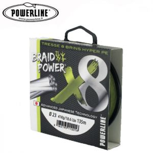 TRESSE POWERLINE BRAIDPOWER 8 BRINS VERTE 135M