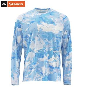 T.SHIRT ANTI-UV SIMMS SOLARFLEX CREWNECK CLOUD CAMO BLUE