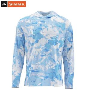 T.SHIRT ANTI-UV SIMMS SOLARFLEX HOODY CLOUD CAMO BLUE